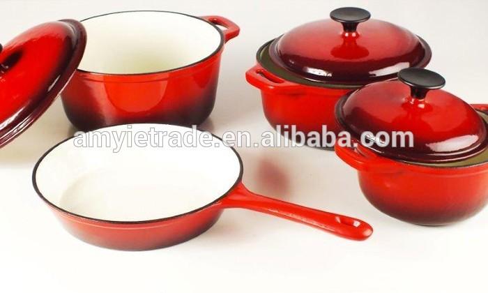 4 pieces cast iron enamel cookware set, cast iron casserole and fry pan set, cast iron kitchenware set