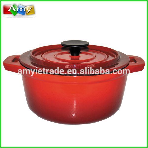 Enameled Cast Iron Casseroles, Two Handle Red Soup Pot
